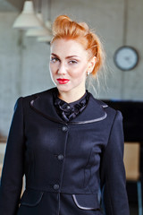 young beautiful woman in  black jacket
