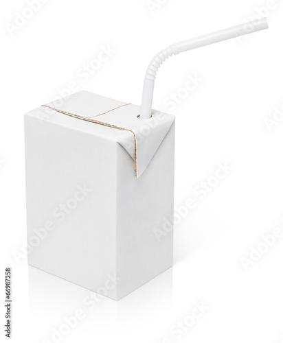 Leinwandbild Motiv 200 ml milk or juice carton package with straw isolated on white