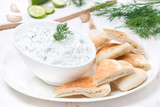 yoghurt sauce tzatziki with pieces of pita bread