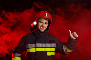 Fireman showing thumb up