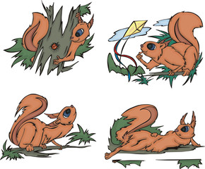 Playful comic squirrels