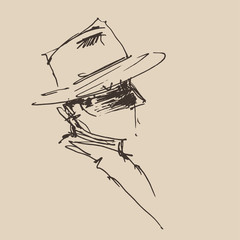 man in hat engraved retro style, hand drawn, sketch