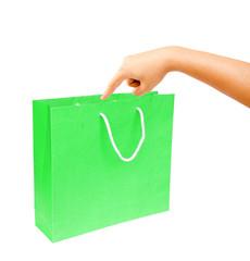 hand blank green paper bag