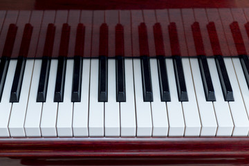 Horizontal View of White and Black Piano Keys