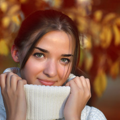 girl outdoors in sweater