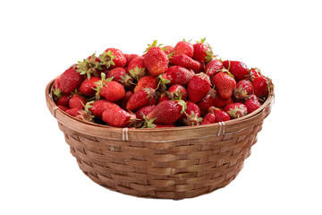 basket of strawberries isolate on white