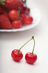 two ripe juicy cherries