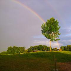 Regenbogen am dunklen Himmel