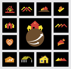 house, home, real estate & construction industry vector icons