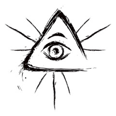 Eye of Providence symbol created in grunge style