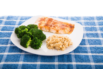 Baked Salmon with Broccoli and Rice