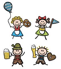 Leute in Tracht mit Oktoberfestsymbolen – Comiczeichnung