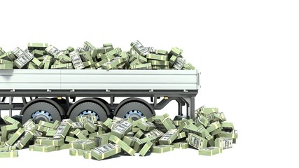 car truck with money isolated on white background