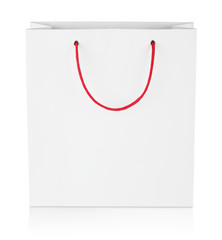 Square shopping bag isolated on white with clipping path