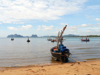 Fishing boats moored along the beach