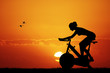 canvas print picture - Cyclette at sunset