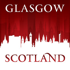 Glasgow Scotland city skyline silhouette red background