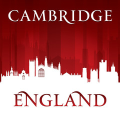 Cambridge England city skyline silhouette red background