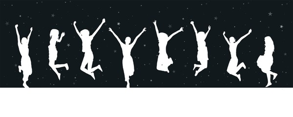 Jumping silhouettes - starry night