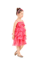 Full length portrait of a cute little girl in red dress