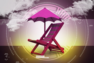 chair covered by umbrella