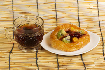 Fruit danish bread with Hot Tea