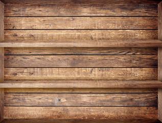 Blank vintage wooden bookshelf