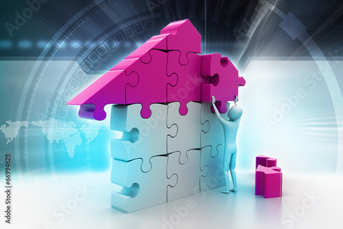 canvas print picture 3d man, building the house