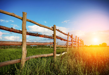 Fence in the green field under blue cloud sky