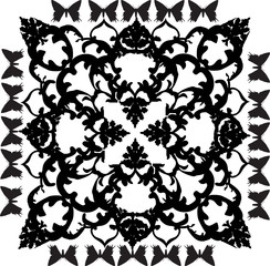 black on white square design with butterflies