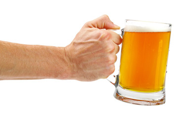 hand hold glass mug of beer isolated on white