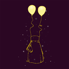 Sketch - strapless dress + balloons