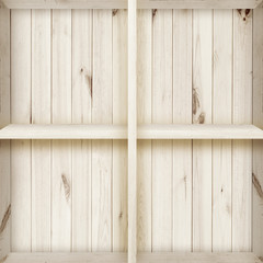 Blank white wooden bookshelf