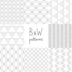 Abstract black and white simple geometric seamless patterns