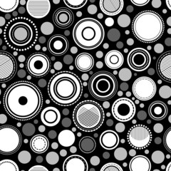 Black and white abstract geometric circles seamless pattern