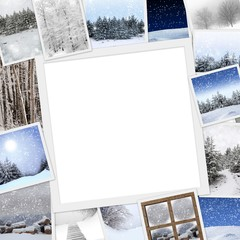 Collection of winter photos with copy space