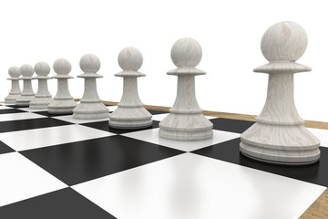 White chess pawns on board