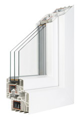 Pvc profile windows with triple glazing