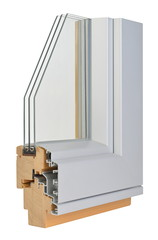 Aluminium/wooden window profile with tripple glazing