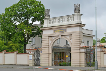 Gate of the Jewish part of the Olshansky cemetery in Prague