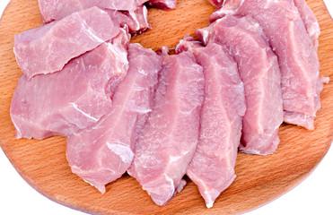 crude meat cut on a board