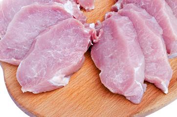 crude meat cut on a board close up