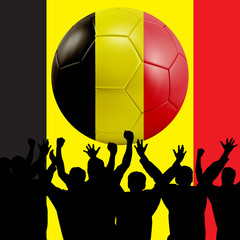 Mass cheering with Belgium Soccer ball