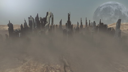 Collapsing buildings on an animated planet