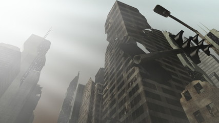 Collapsing building in an animated city