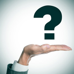 man hand and question mark