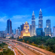 Night view of Kuala Lumpur skyline.