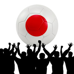 Mass cheering with Japan Soccer ball