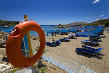 The famous Ladiko beach in the island of Rhodes, Greece