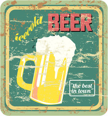 retro beer sign, vector, grungy style, free copy space